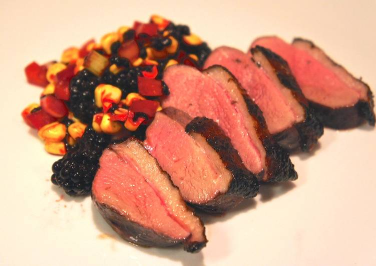 Steps to Make Super Quick Homemade Duck Breasts with Blackberry-Corn Relish