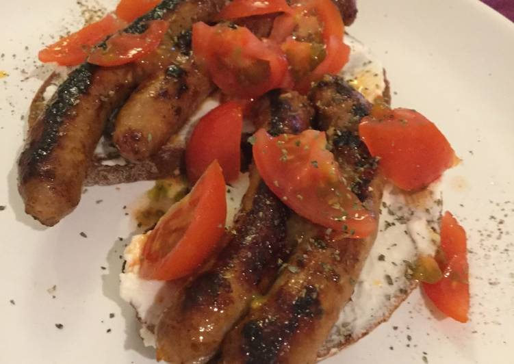 Hungry dinner: bread, sausage, ricotta, tomatoes