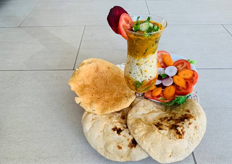 Cauliflower Sabzi,Daal fry, Naan(wheat flour),Jeera rice,Salad and papad