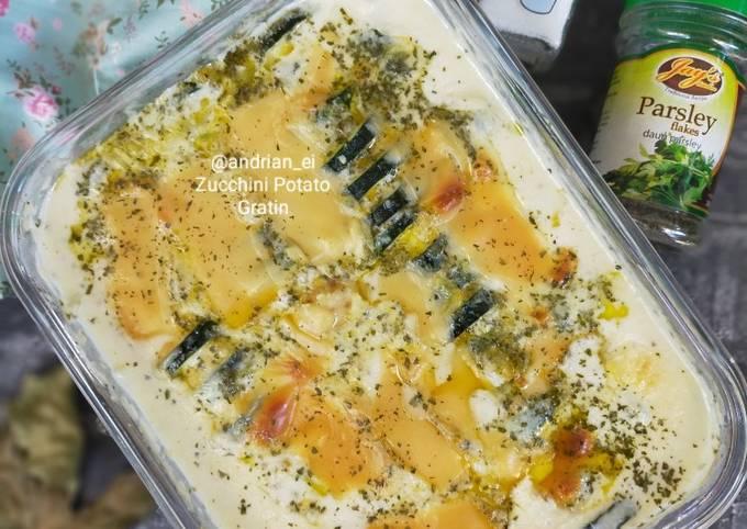 Resep Dan Cara Memasak Creamy Baked Zucchini Potato Gratin Dijamin enak