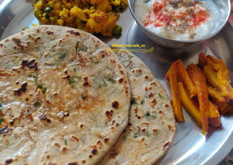 Mooli Methi Paratha with Gobhi Matar Sabji and Gazar Aachar - Laurie G Edwards