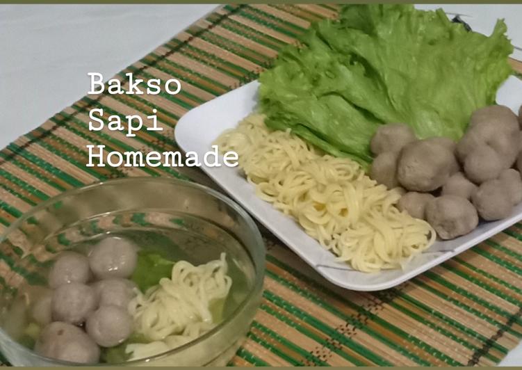7. Bakso Sapi Homemade plus Kuah Sayuran