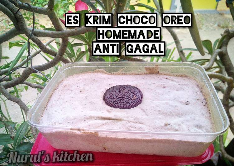 Es krim choco Oreo homemade lembut dan creamy anti gagal