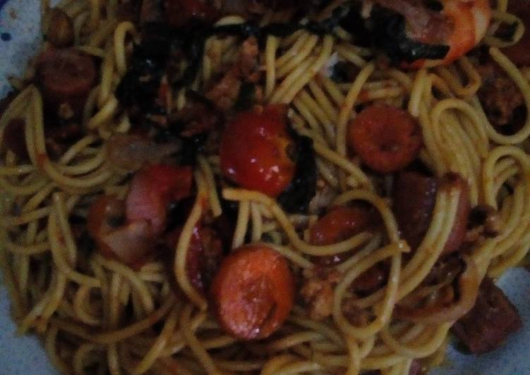 Recipe of Quick Curry Spaghetti with Grilled Veg