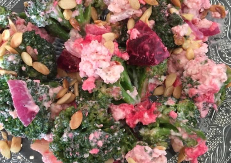 Broccoli salad in curd dressing