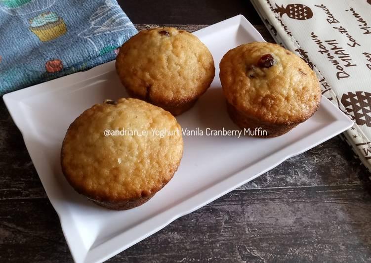 Yoghurt Vanila Cranberry Muffin (Tanpa Mixer)