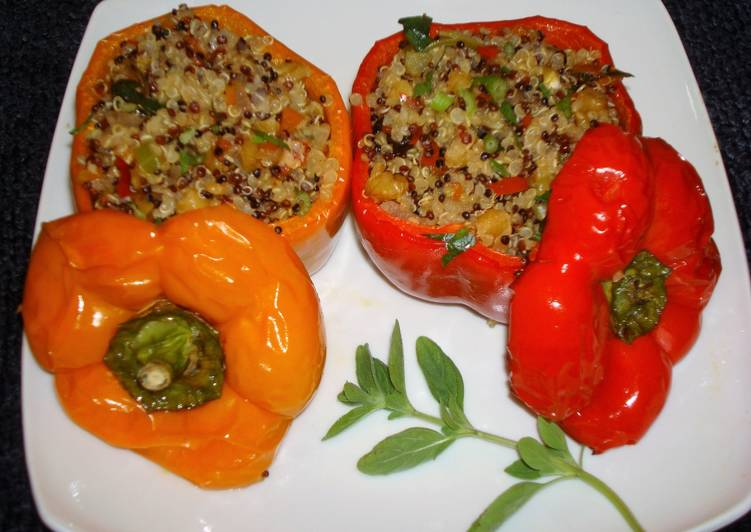 Step-by-Step Guide to Prepare Award-winning Stuffed peppers with three colors quinoa  walnuts and raisins