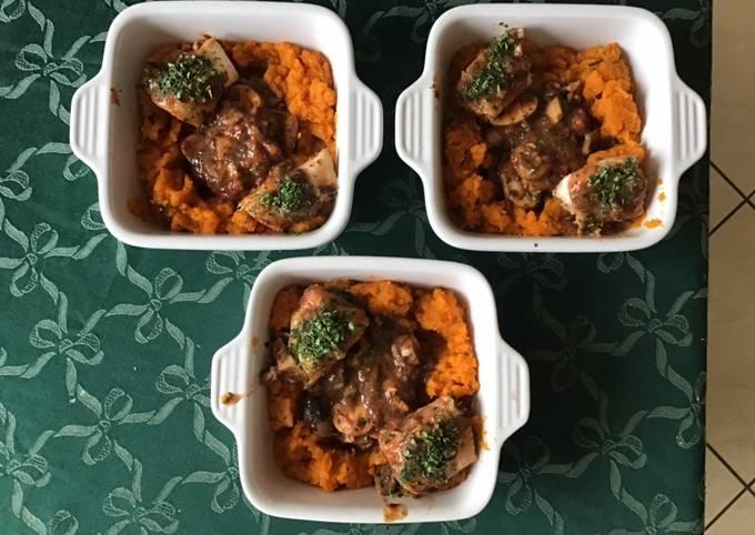 Dos de cabillaud aux champignons et purée de carottes