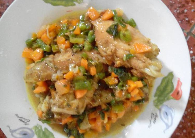 Easiest Way to Make Ultimate Vegetable sauce and chicken
