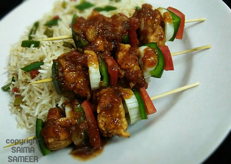 Easy Recipe: Appetizing Shashlik with sweet and sour sauce