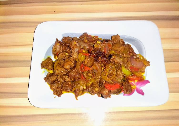Gizzard and liver stir fry