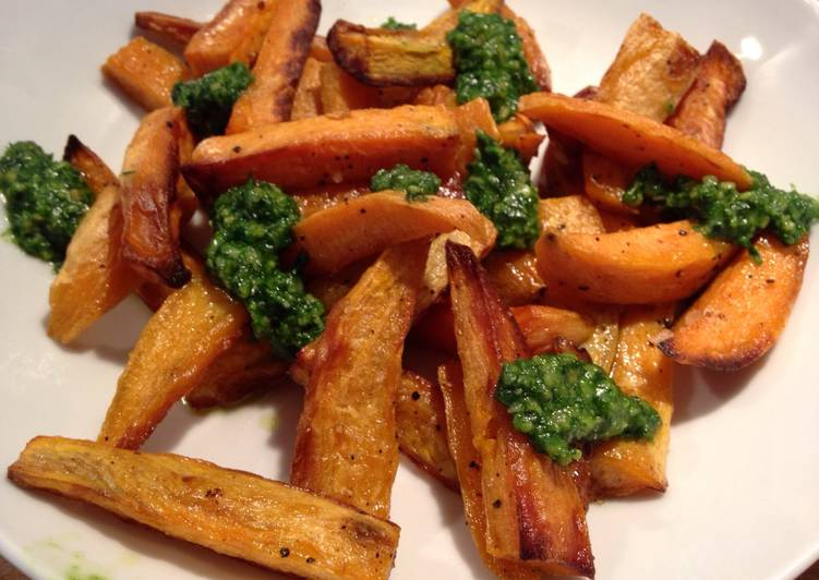 Sweet Potato Chips with Pesto