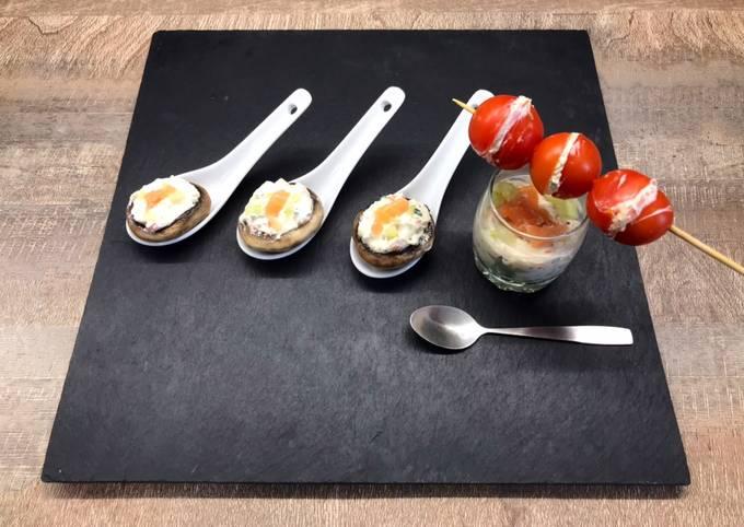 Bouchées au champignons, verrines et tomates cerises farcies 😍👍😋