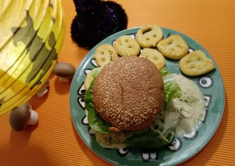 How to Cook Tasty Käse-Pilz-verhexter Burger-Huhn