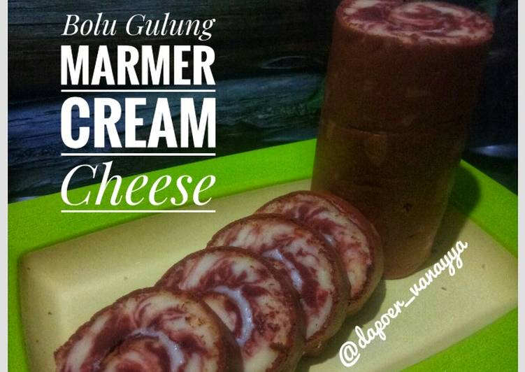 Bolu gulung marmer cream cheese
