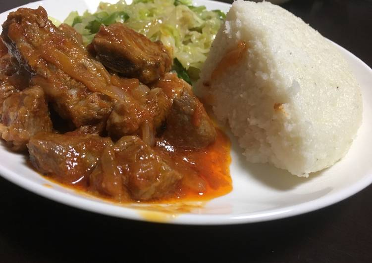 Recipe of Award-winning Ugali served with cabbage and beef wet fry