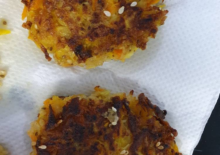 Zucchini carrot patties-vegan style