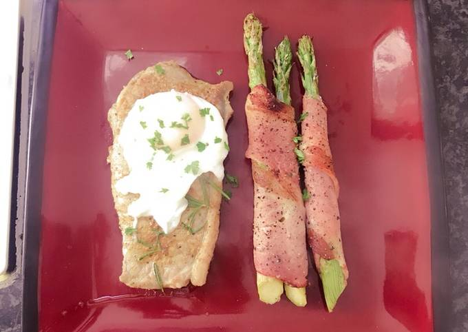 Bacon Asparagus with Steak & Poached Egg