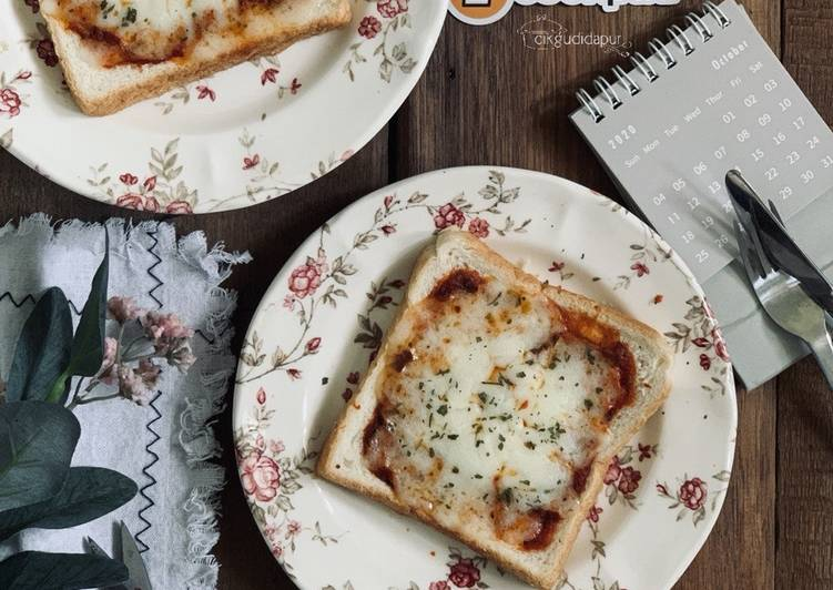 Resepi:  Simply Cheese Bread Pizza  Enak