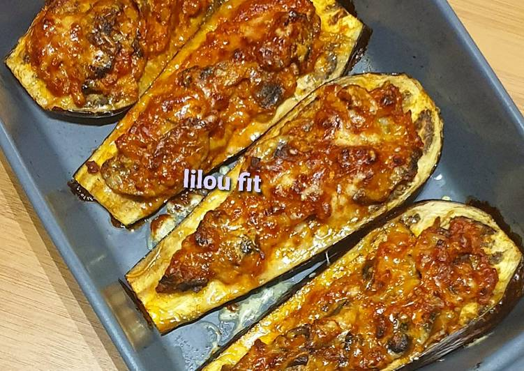 Aubergine gratinée aux champignons et hachée végétal