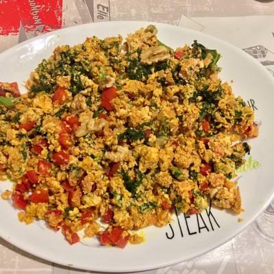 revuelto de verduras con clara de huevo