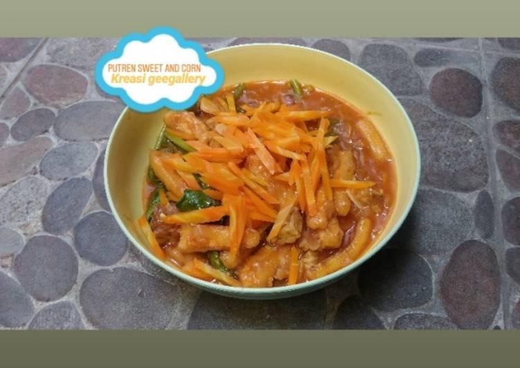 Utren asam-manis (baby corn sweet and sour)