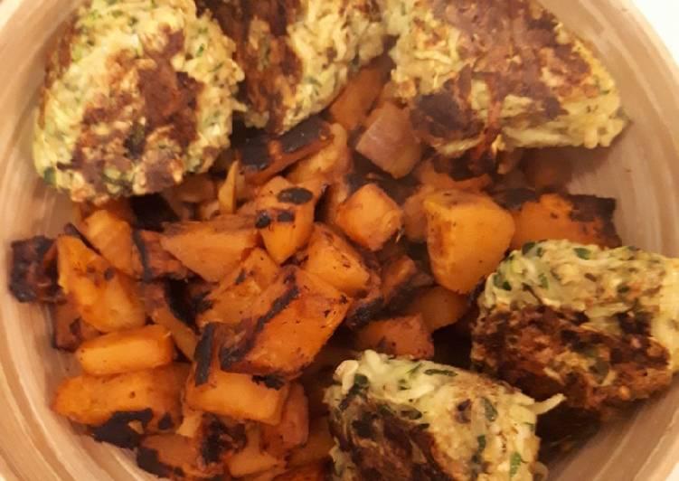 Boulettes de courgette et patate douce sautée