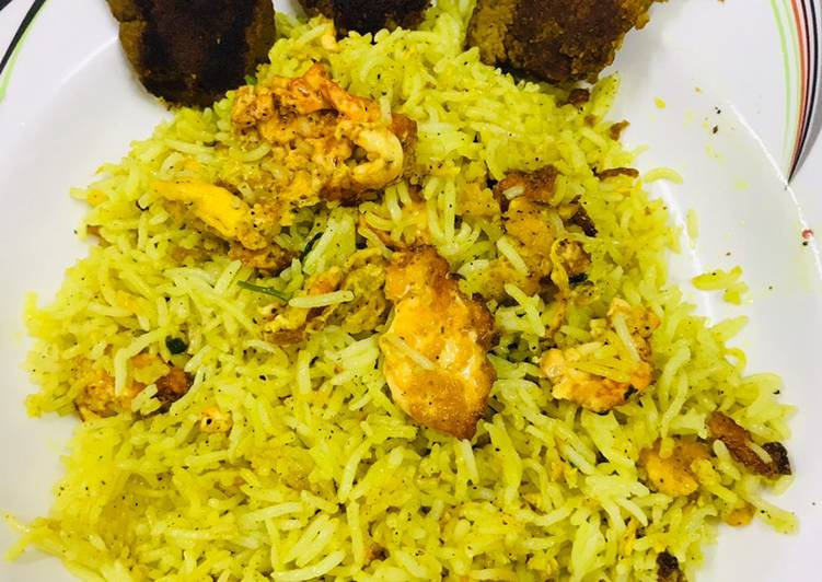 Egg fried rice with shami kababs !!