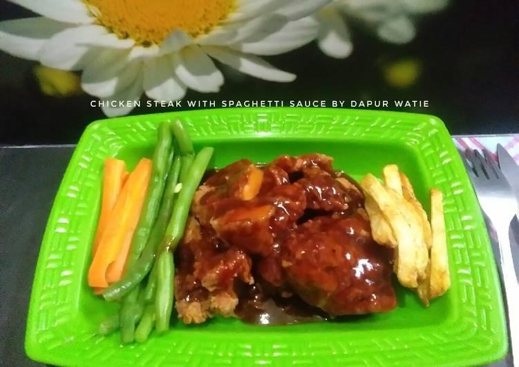 Chicken steak with spaghetti sauce