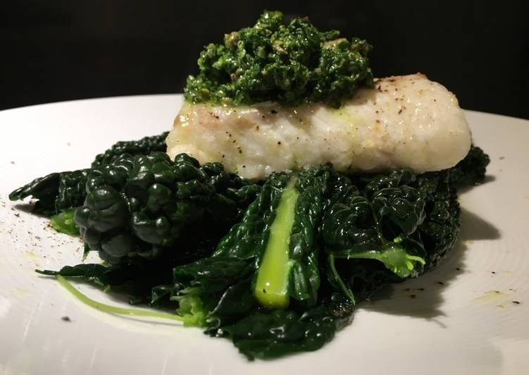 Roasted cod with cavolo nero and salsa verde