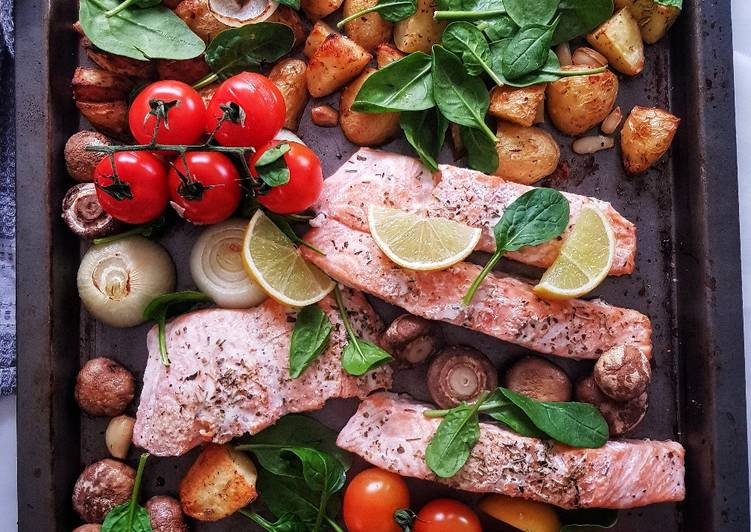Easiest Way to Make Favorite One pan baked salmon and veggies