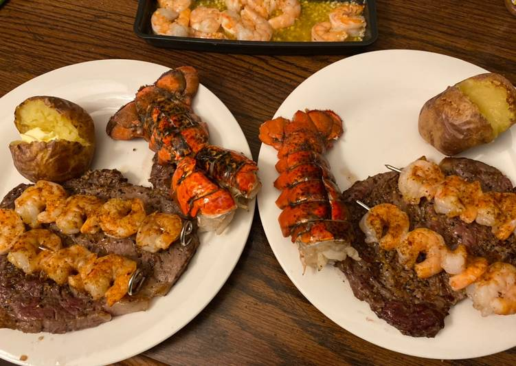 How to Prepare Quick Steak, lobster, shrimp (date night series)