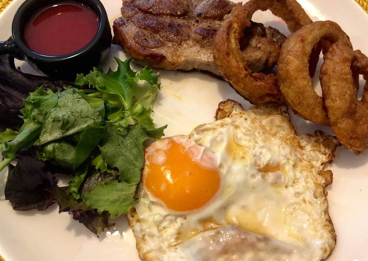 Easiest Recipe: Appetizing Pork shoulder steak with homemade gooseberry and beetroot ketchup, fried egg and crispy onion rings