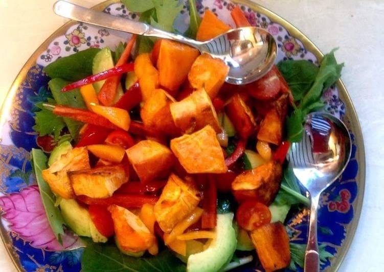 Recipe of Homemade Roasted sweet potato and avocado salad