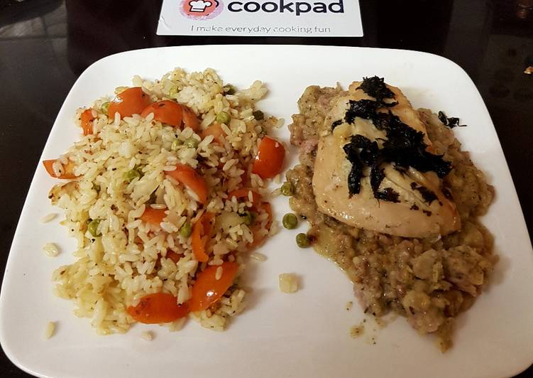 My Oven Steamed Chicken breast on a Bed of Stuffing. 😉
