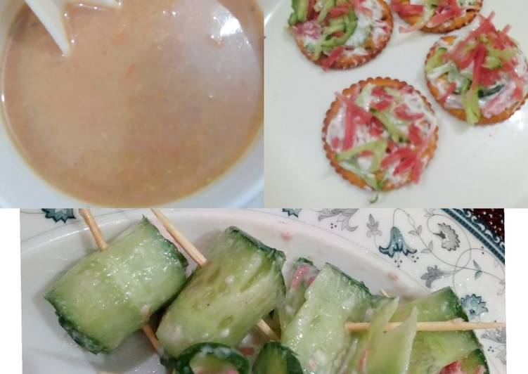 Mulligatawny soup with cucumber rolls and mayo cheesy snack