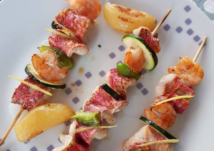 Brochettes de rougets aux crevettes