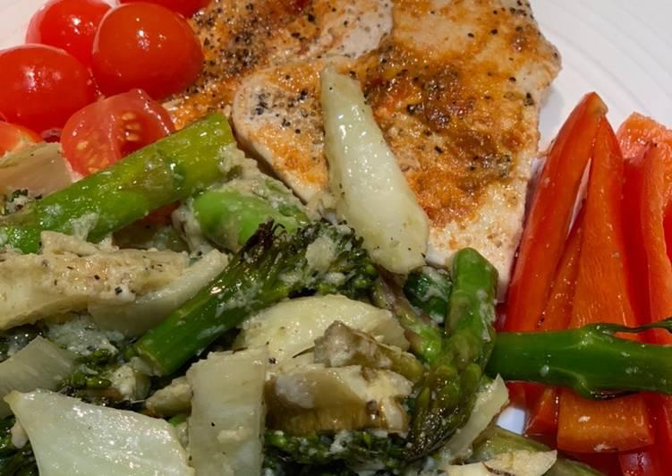 How to Prepare Perfect Harissa turkey steaks with fennel/broccoli/asparagus and lemon-pecorino sauce for Jamo