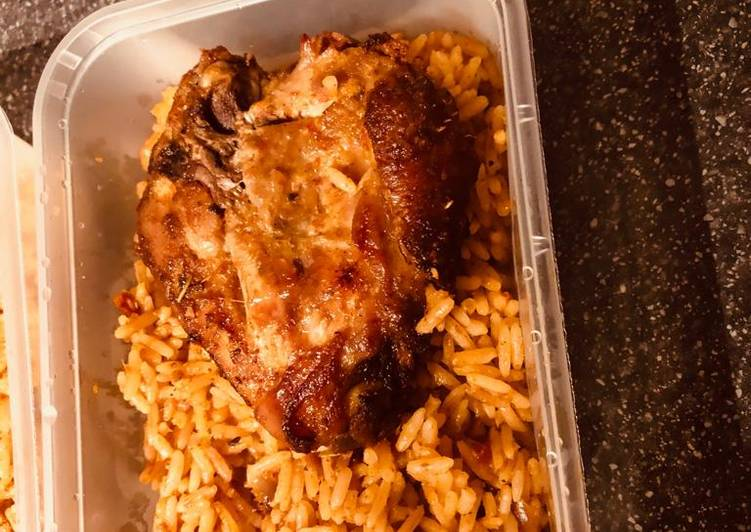 The Best Soft and Chewy Dinner Easy Special Jollof Rice with Grilled Chicken
