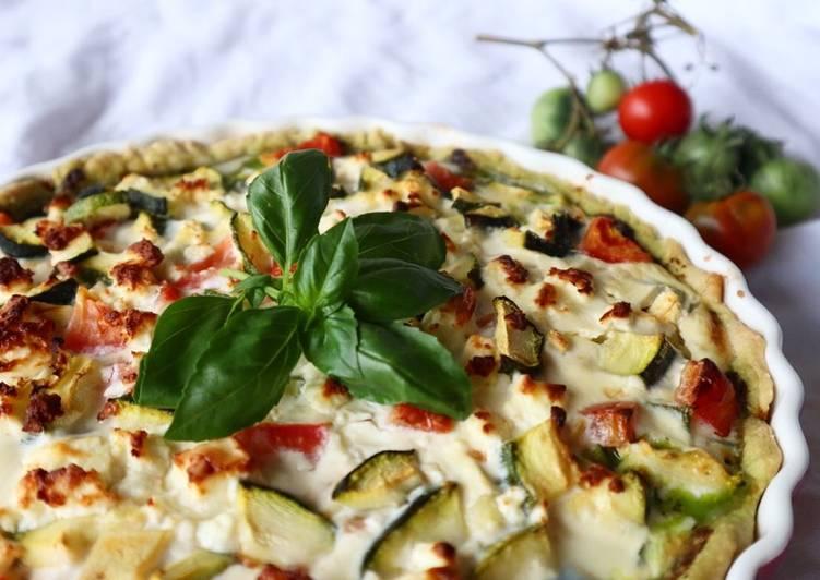 Easiest Way to Cook Perfect Saisonale Basilikumpesto-Zucchini-Tomatenquiche 🍅🌿