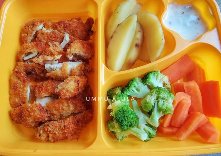 Cara mudah membuat DIET MAYO DAY 6 (lunch) Chicken katsu