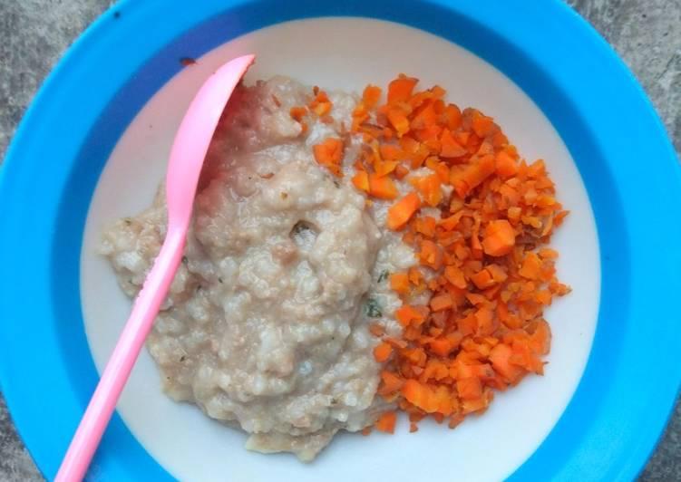 [MPASI 9M+] Bubur Daging Giling + wortel