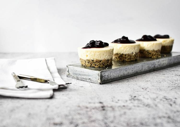 Simple Way to Make Award-winning Mini No Bake Cheesecakes with Seeded Base and Blueberry Compote Topping