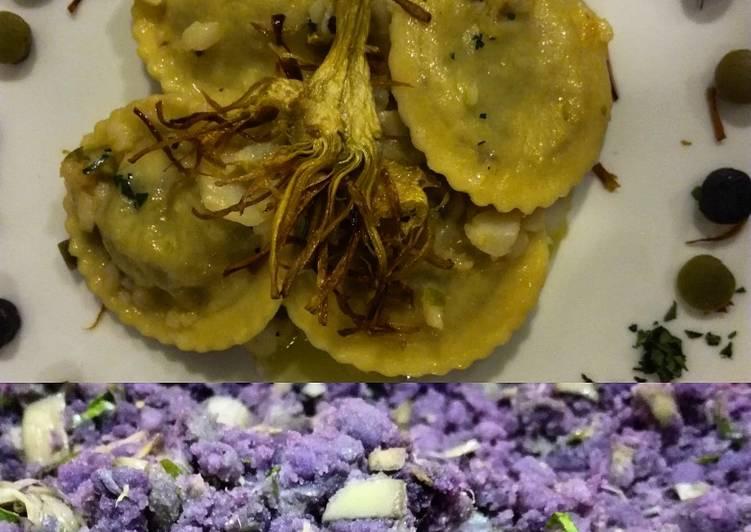 Ricetta Tortelli di patate viola e carciofi