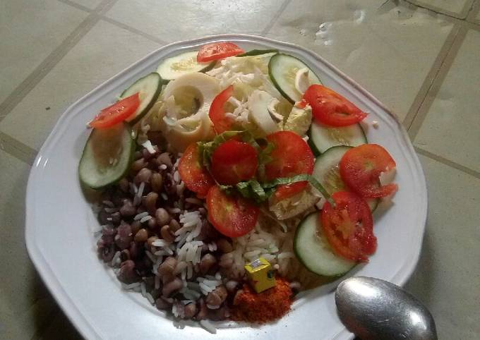 Steps to Prepare Quick Rice nd beans with simple salad