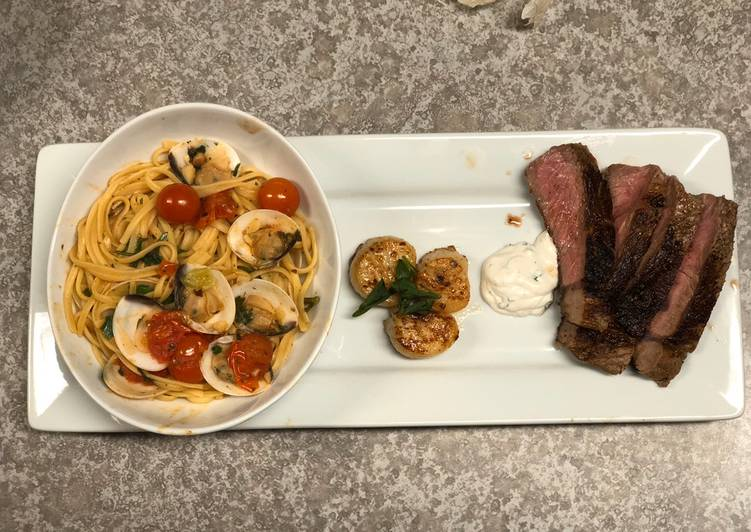Easiest Way to Prepare Yummy Garlic Clam Pasta w/ Rib-eye & Scallops