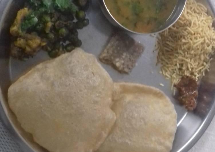 Puri,gobi matar,barfi and aloo tamatar ki sabji