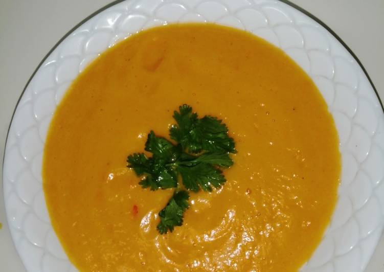 Pumpkin soup garnished with coriander