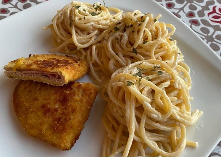 Spaghettis et sa sauce fromagère maison