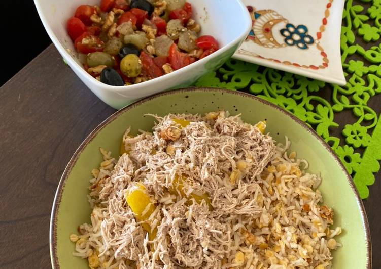 Simple Way to Prepare Super Quick Homemade Healthy lunch Lentil with rice called Koshri and Chicken, salad